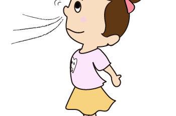 女の子が鼻呼吸をする絵